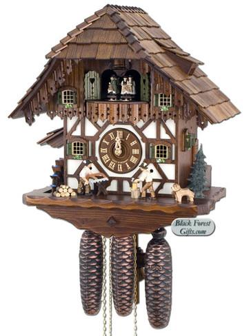 8TMT5483-9 Anton Schneider 8 Day Wood Chopper and Sawer Cuckoo Clock
