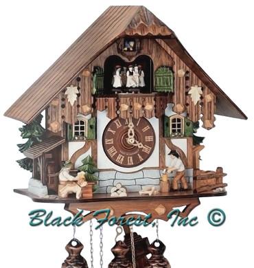 8TMT6407-10 Anton Schneider 8 Day Beer Drinker and Wood Chopper Cuckoo Clock