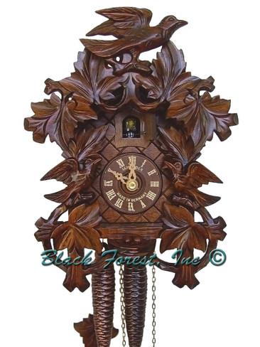 872-9 Anton Schneider Carved 3 Birds 1 Day Cuckoo Clock