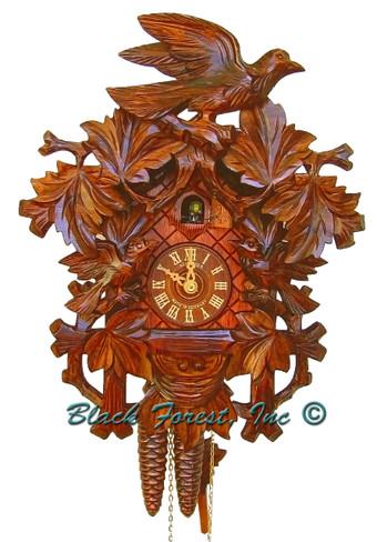 872-17 Carved 3 Birds 1 Day Cuckoo Clock