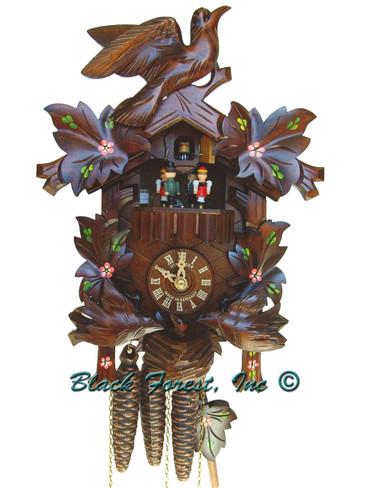 MT6106-10 Anton Schneider Carved Feeding Birds Flowers Musical 1 Day Cuckoo Clock