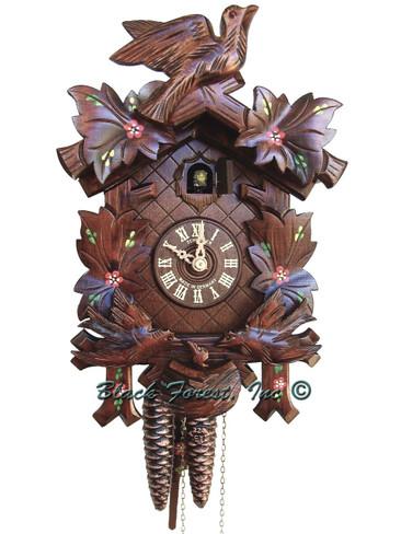 96-10 Anton Schneider 5 Leaf 1 Bird 1 Day Flowers Cuckoo Clock