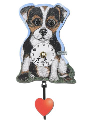 205QP Quartz Moving Eyes Dog Miniature Clock
