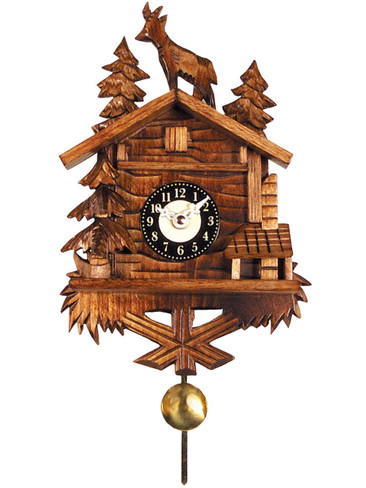 0137QP Quartz Carved Goat with Sound Miniature Clock