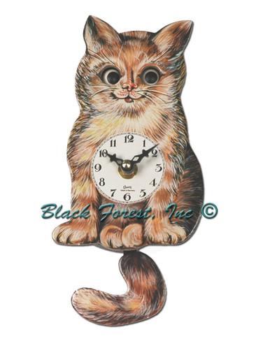203QP Quartz Moving Eyes Cat Miniature Clock
