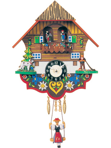 0193SQT Quartz Cuckoo Sound Swinging Lady Miniature Clock