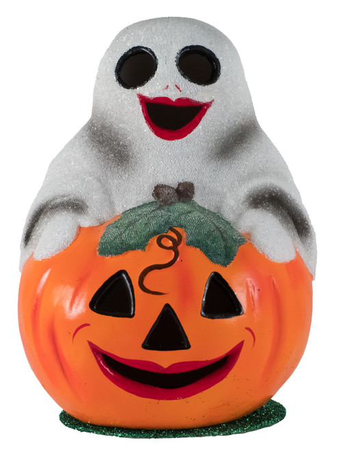 409 Ghost on Pumpkin Schaller Paper Mache Candy Container
