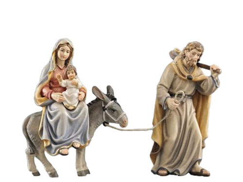 801543 Escape to Egypt Painted Kostner Nativity from Italy