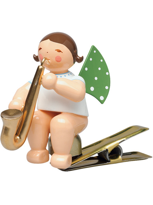 650-90-54 Angel Ornament with Saxophone Clip from Wendt and Kuhn