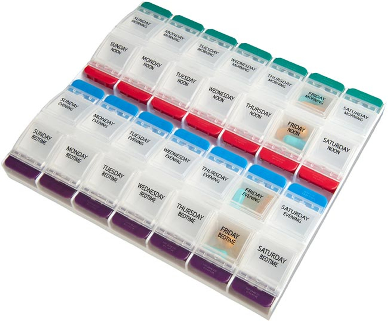 Push Button 4X/Day Large Weekly Pill Organizer
