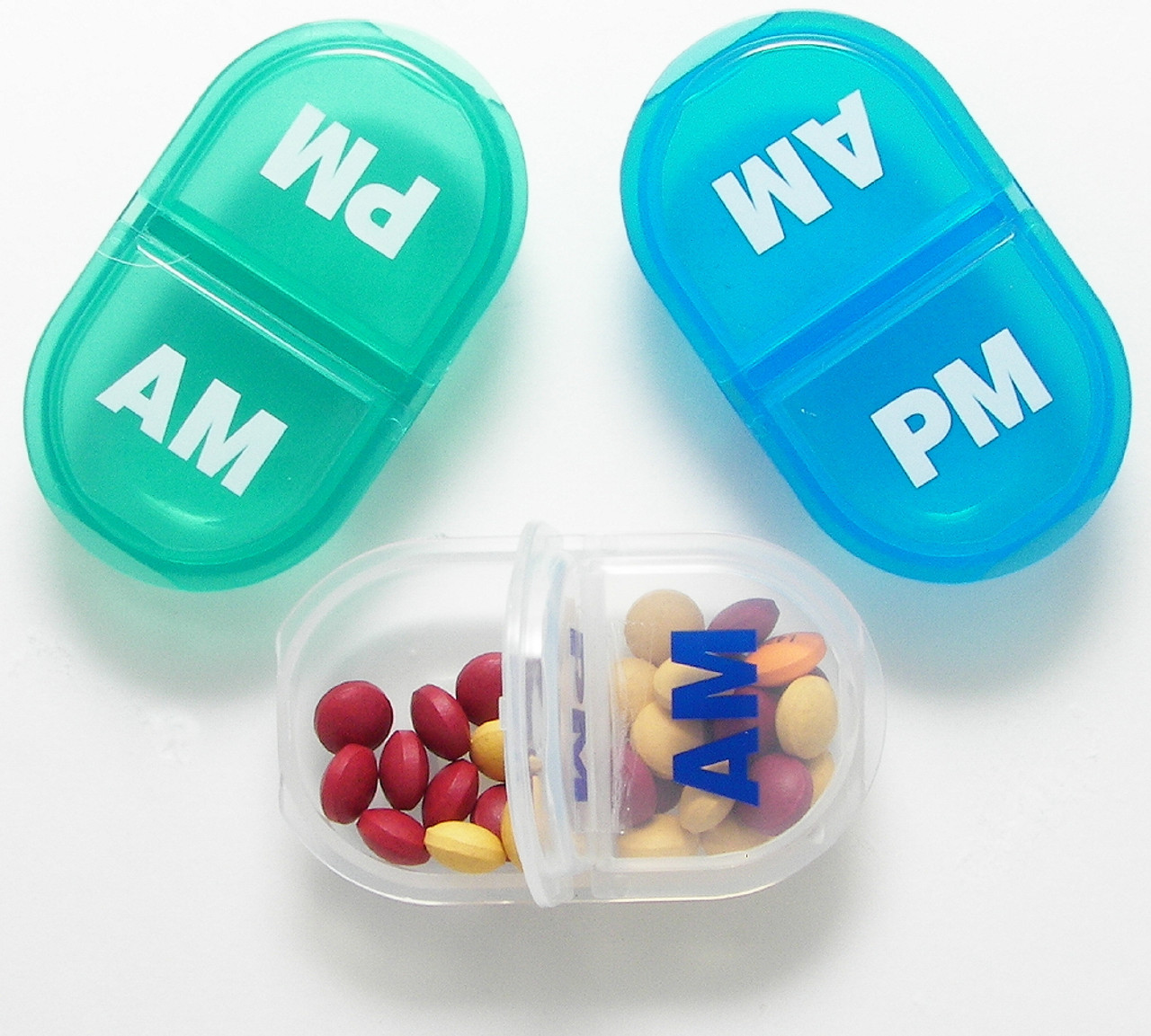 Handy daily am/pm pill organizer, grab one and go!