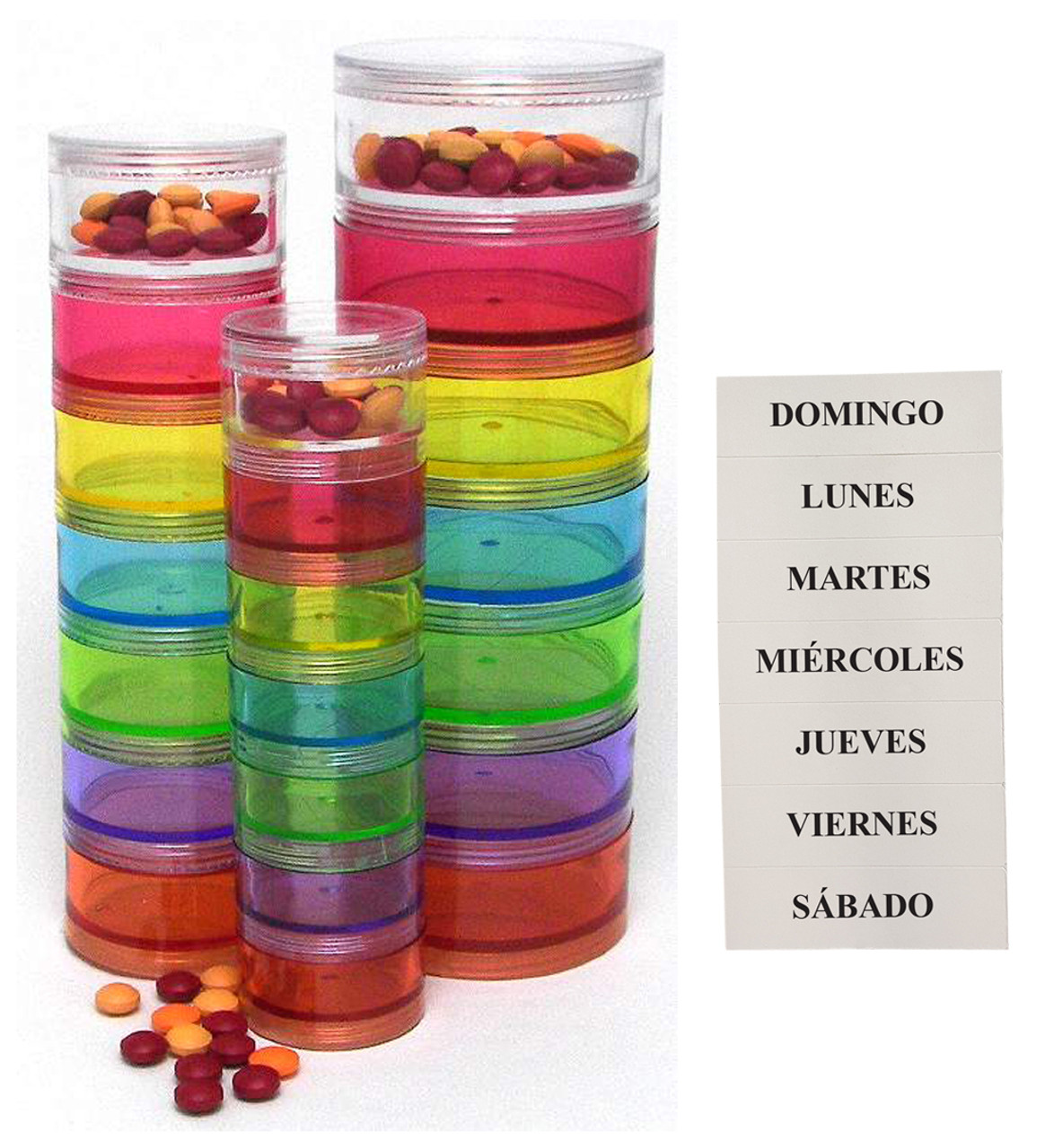 Spanish Stackable 7-Day Pill Organizers