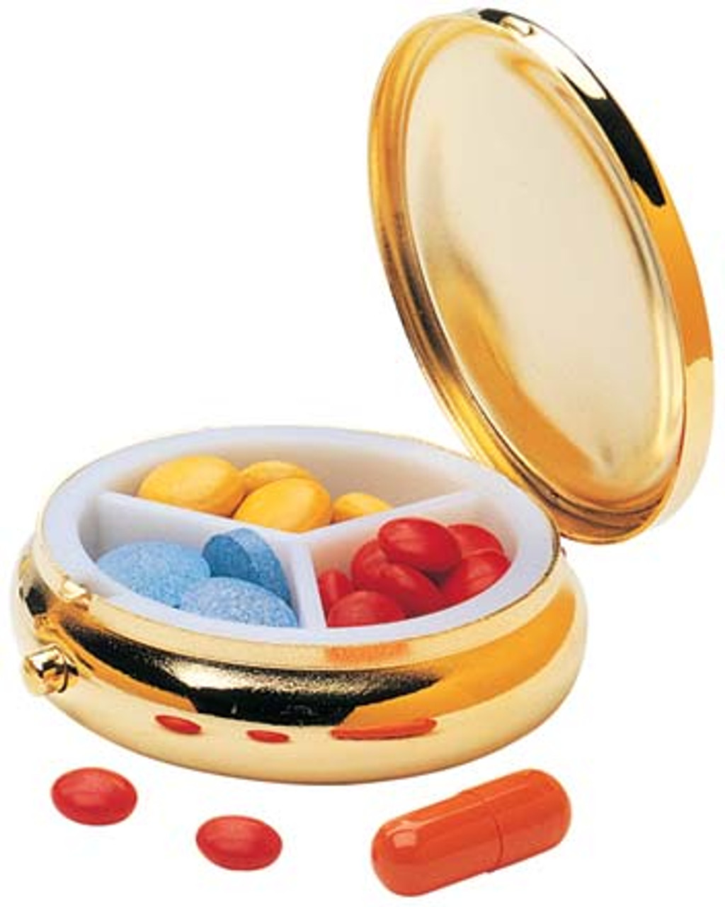 Handy sized pocket pill box.