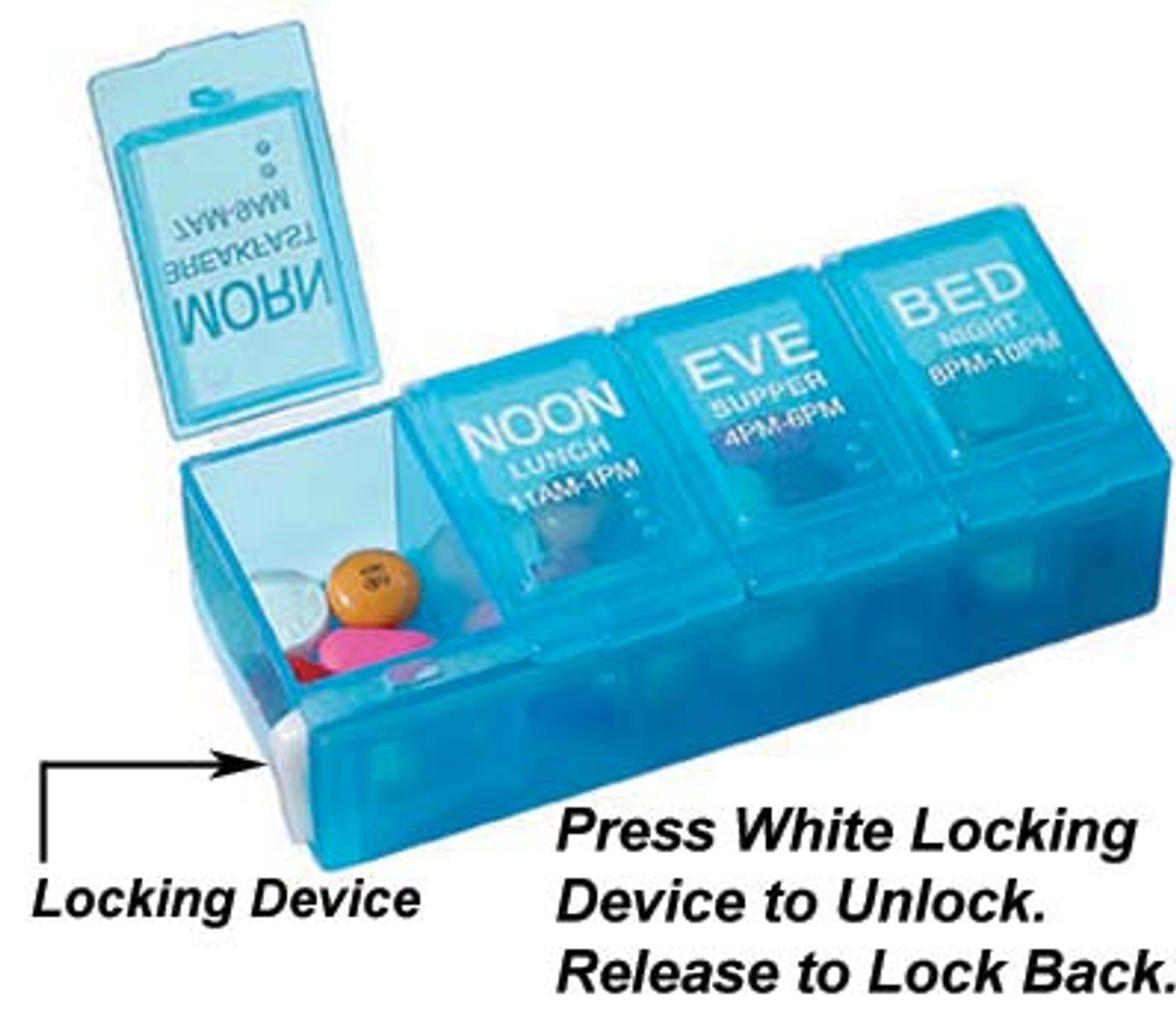 Ezy Dose Locking 4 Compartment Pocket Pill Organizers - 67800