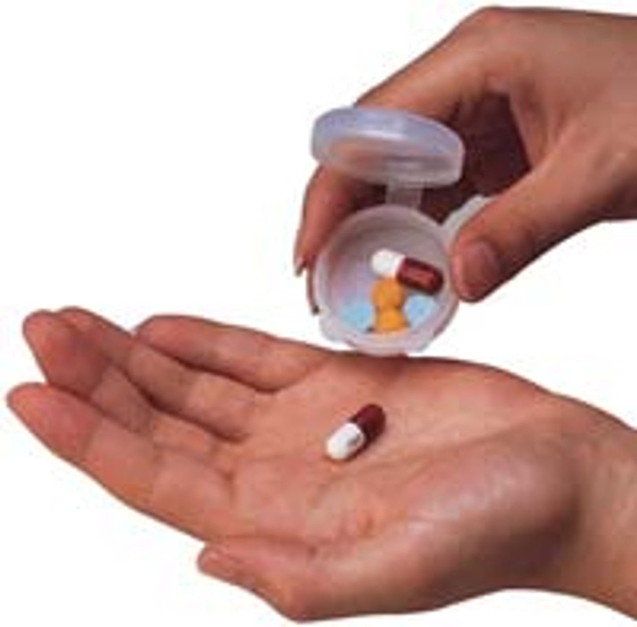 Handy pill caddy in a two pack.