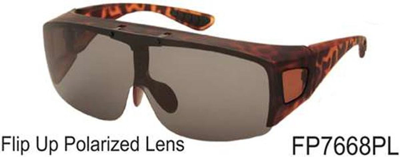 Sunglasses Flip Up Cover Over Polarized Lenses Dark 7668