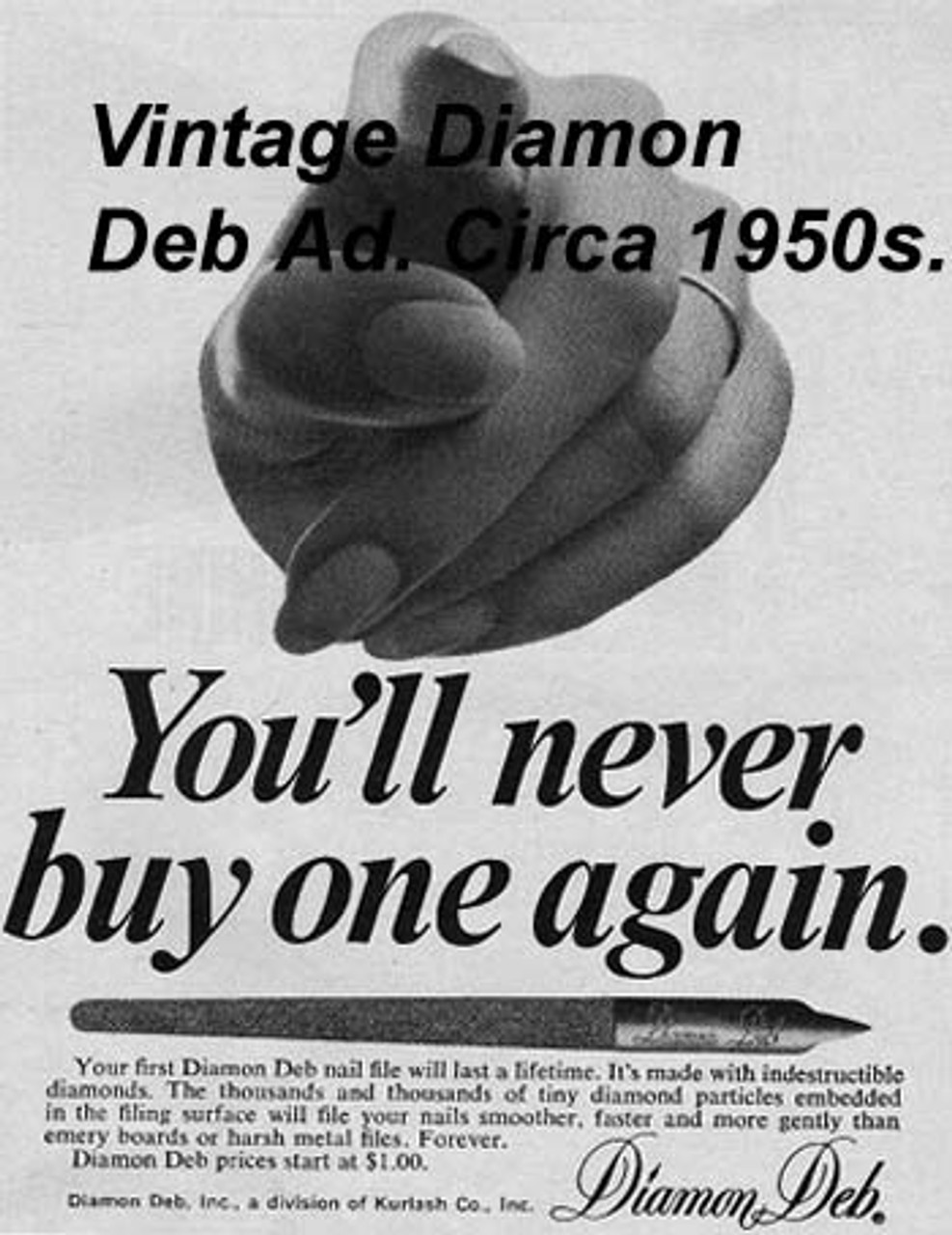 A vintage Diamond Deb Nail File ad