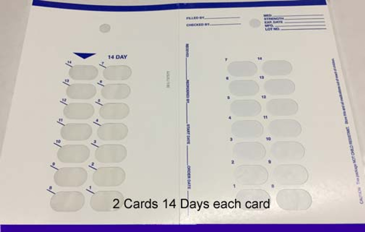 Refill Cards for 14 Day Blister Packs