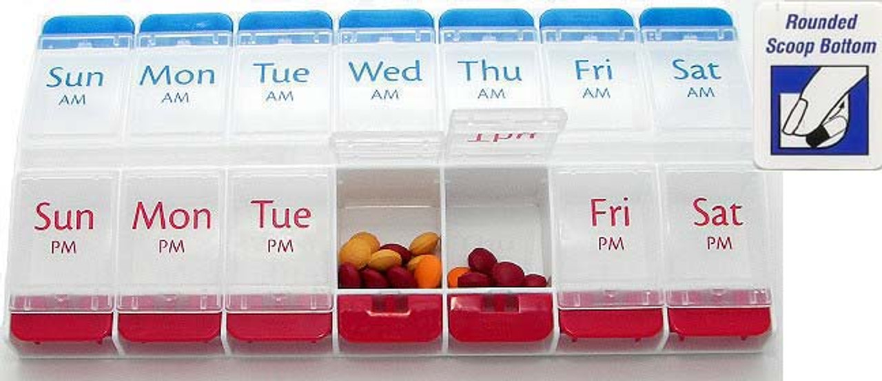 AM PM Push Button Weekly Pill Organizer