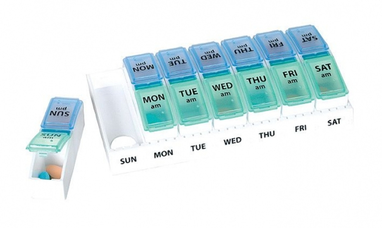 Sturdy and convenient twice a day, weekly pill organizer. Pop out the day's container and you are on your way.