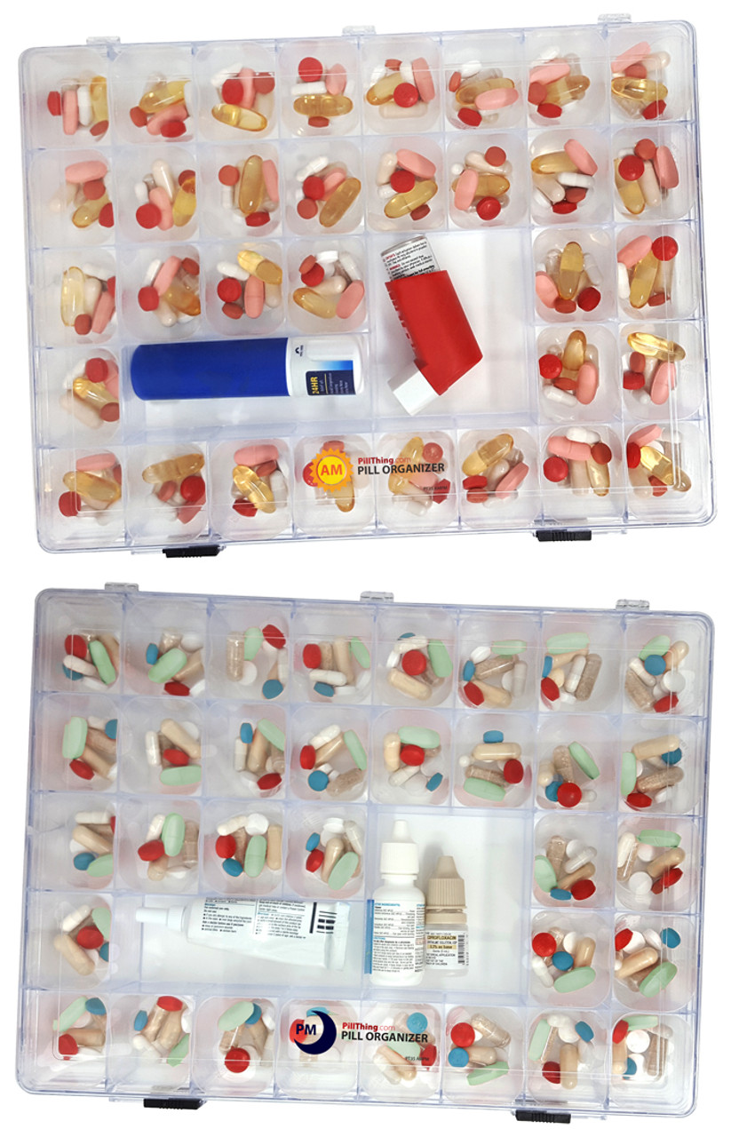 Monthly pill organizer with cups