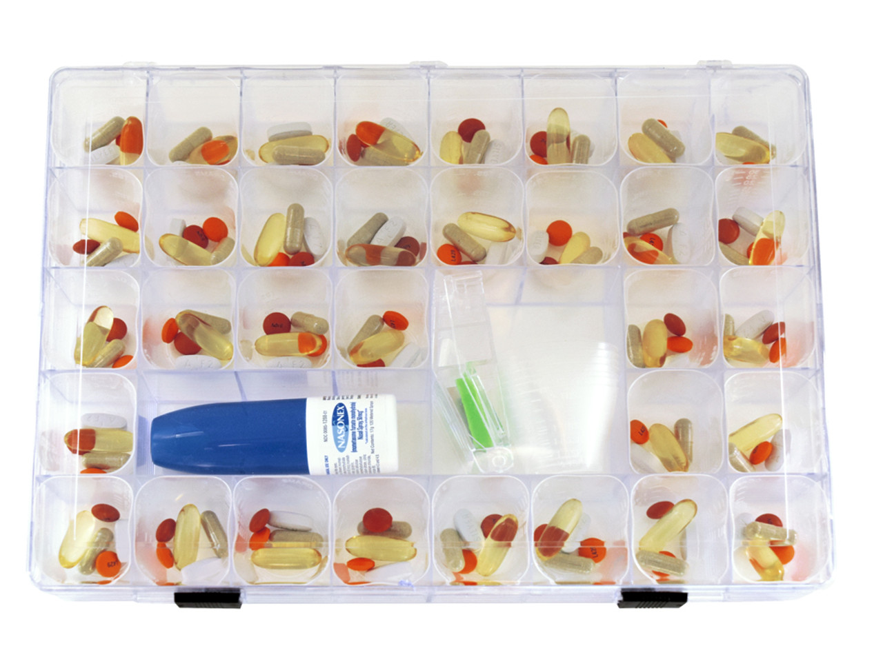 EZ View Monthly Pill Organizer with Pill Cups and Medication Log