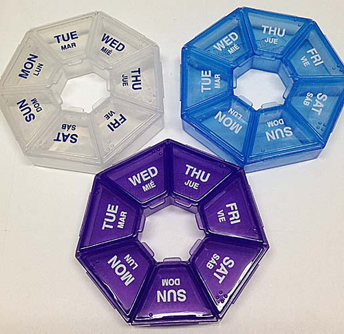 The popular seven sided Spanish pill organizer.