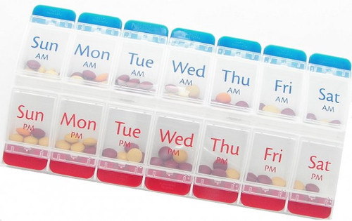 AM PM Push button pill organizer.