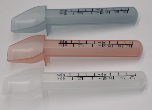 Specially designed 2 tsp medicine spoon dispenses an accurate amount of medication.