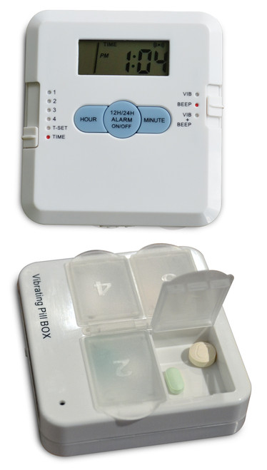 Affordable pill timer with built in pill organizer.