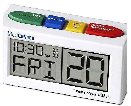 The 4-alarm clock with talking or beeping option can be purchased separately.