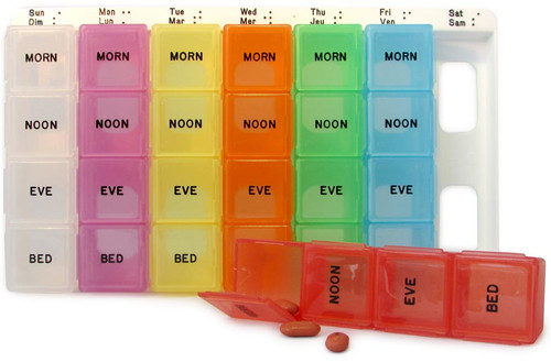 Extra Large, Color Coded Weekly Med Planner, 4-Compartment