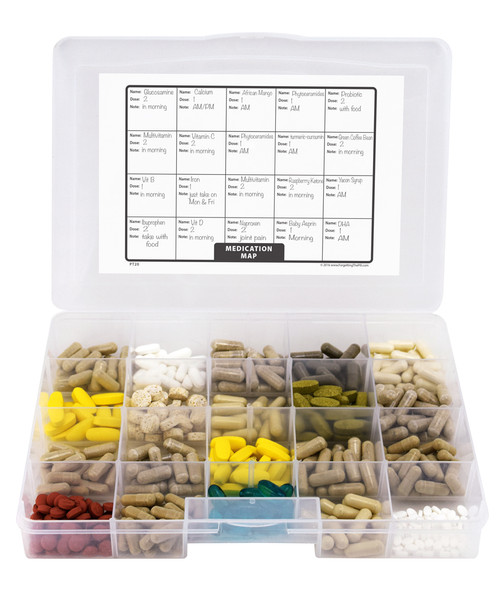 Pill/Supplement Organizer Tray with 20 Compartments