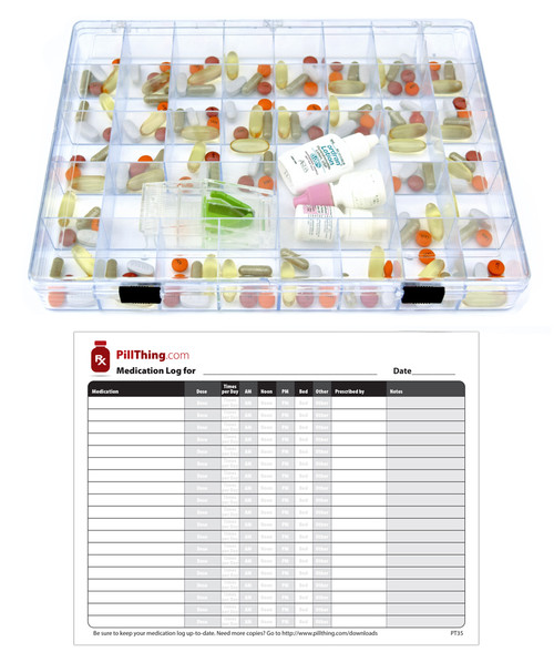 EZ View Monthly Pill Organizer comes with a personalized medication log