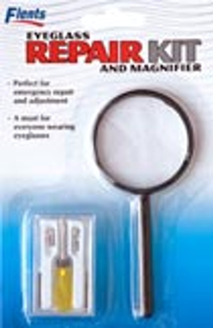 Eyeglass repair kit containing Screwdriver, magnifier, screws and nose pads in packaging.