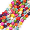 Mixed Dyed Magnesite Skull Beads