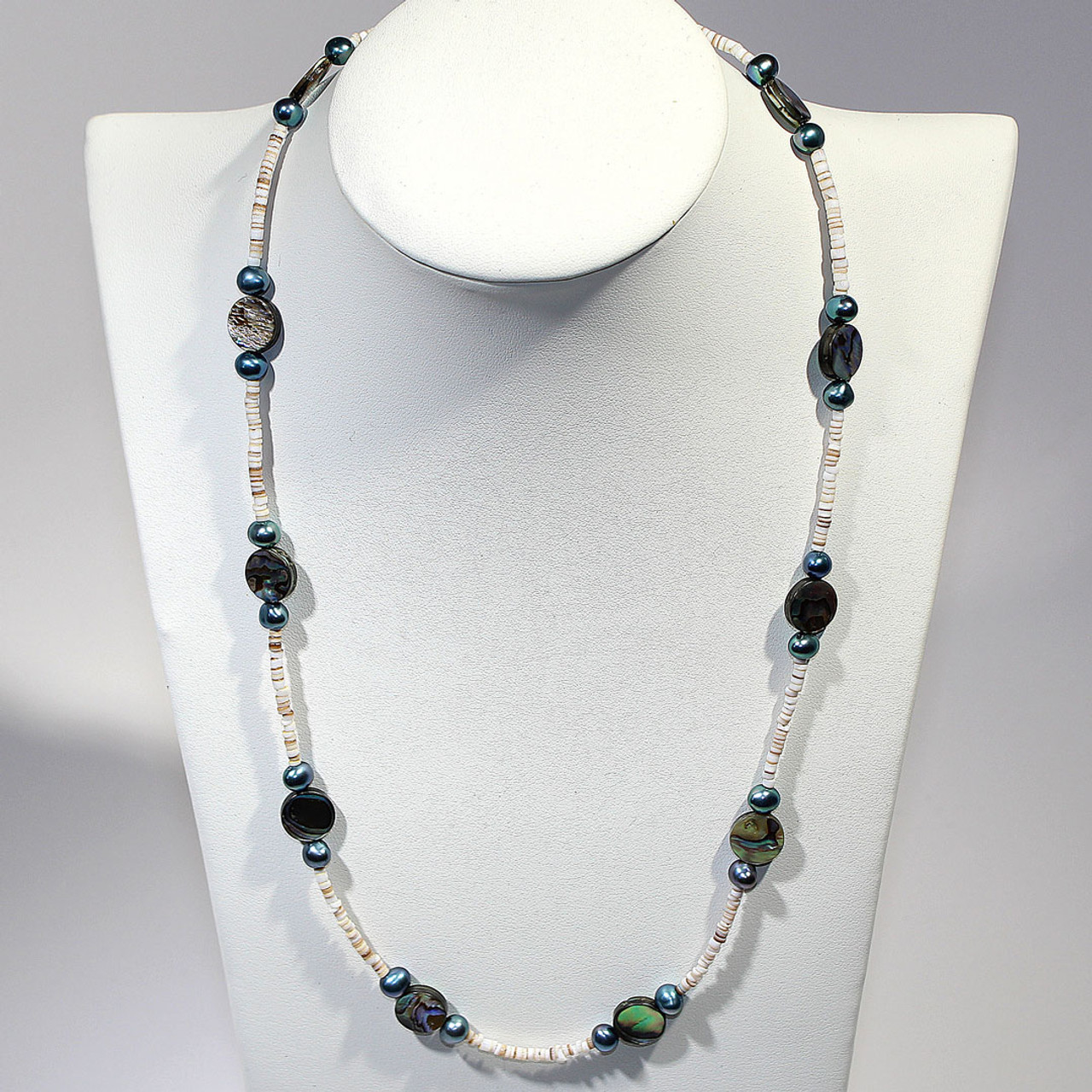 af2a9962873bb Abalone, Freshwater Pearl, Shell Heishi and Sterling Silver necklace