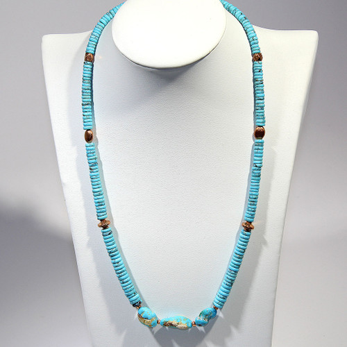 Matinee Necklace | Turquoise and Copper | 21.5 Inches