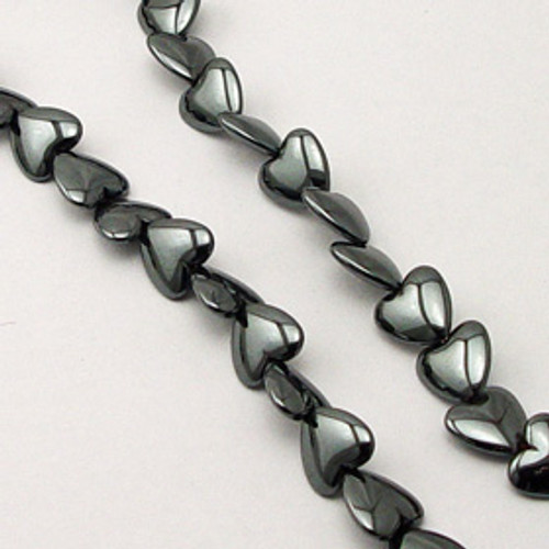 Hematite puff Heart, Top Drill 6mm