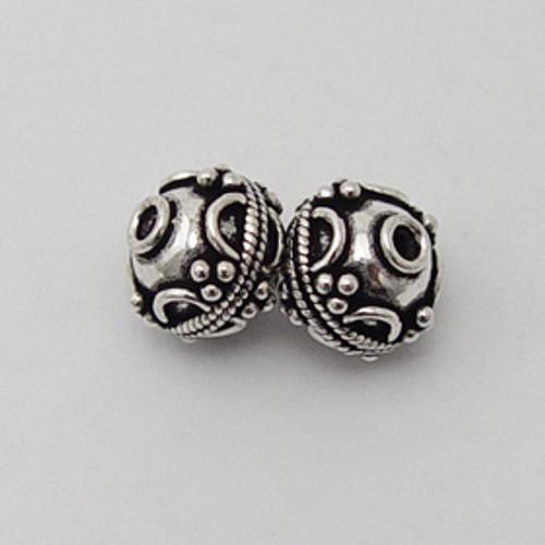 India Silver, 12mm Decorative Rondelle