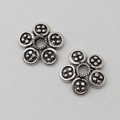 India Silver, 16mm Decorative Flower Bead Cap
