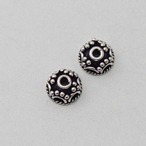India Silver, 9x4mm Decorative Bead Cap