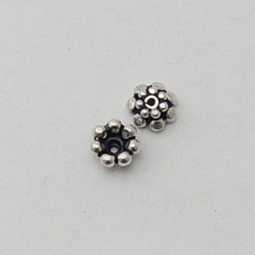 India Silver, 4x6mm Flower Bead Cap