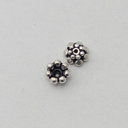 India Silver, 4x6mm Flower Bead Cap
