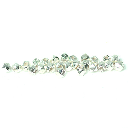 India Silver, 3mm Faceted Spacer Bead