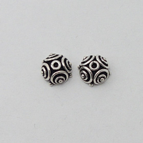India Silver, 5x8mm Spiraled Bead Cap