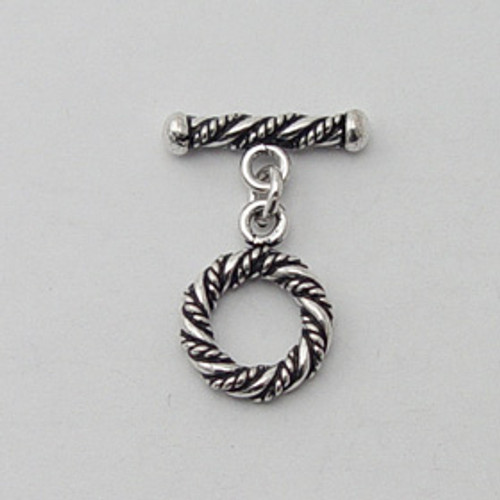India Silver, 12mm Twisted Toggle