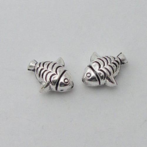 India Silver, 13x16mm Fish Bead