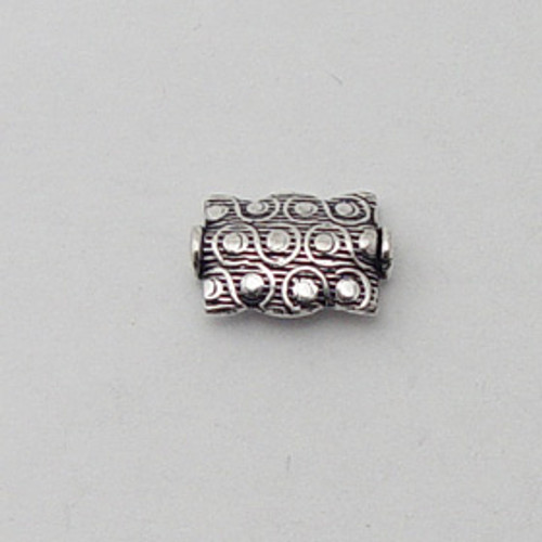 India Silver, 9x14mm Embossed Rectangle Bead