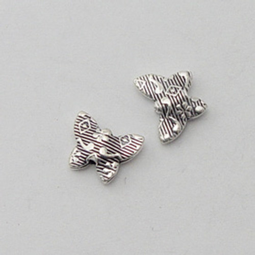 India Silver, 9x11mm Embossed Butterfly Bead